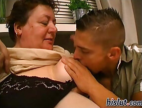 Slutty granny gets pussy pounded by a young stud