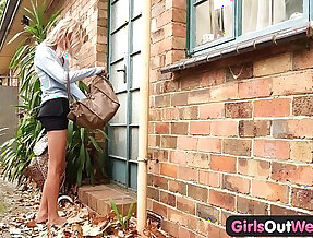 Skinny amateur outdoor toying