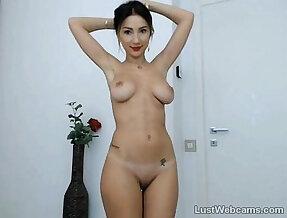 Cute brunette babe teasing on webcam