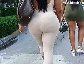 See through leggings visible thong booty