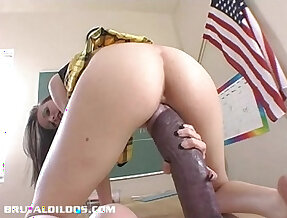 Hailey Young stretches her pussy and ass with black monster dildo