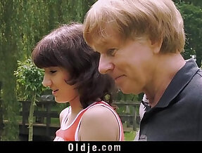 Young Girl gives Blowjob For Old Man And Swallows