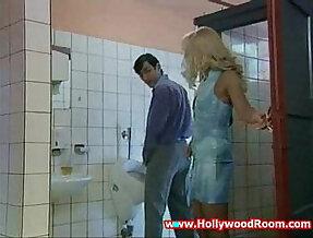Horny slut Wife sucks and Fucks Stranger In Public Toilet