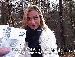Hot blonde milf sucks fucks pov in public