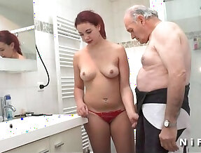 Chubby pussy and gets her ass banged before blowing an old man