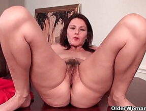 Sexy milf around with tits works her hairy pussy