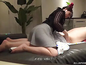 Amateur Japanese wife Mochida Shiori sucks together with rides her husband