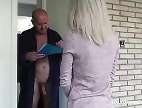 Young 19 yo post girl Missy Luv gets precede with old nude exhibitionist