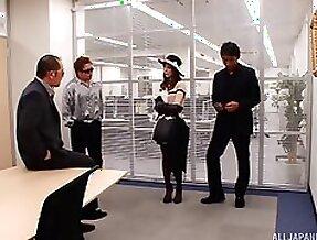 Fashionable Asian girl fucks three guys in the office
