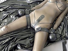 Latex restrain bondage ejaculation