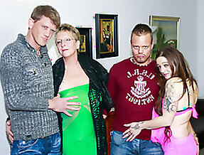 AMATEUR EURO - Swinger German Foursome With Dirty Granny